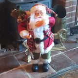3ft (90cm) Traditional Standing Santa Father Christmas Figure with Scarf and Sack