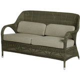 4 Seasons Sussex Polyloom Taupe Wicker Bench with 4 Cushions