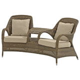 4 Seasons Sussex Polyloom Taupe Wicker Love Seat with 4 Cushions