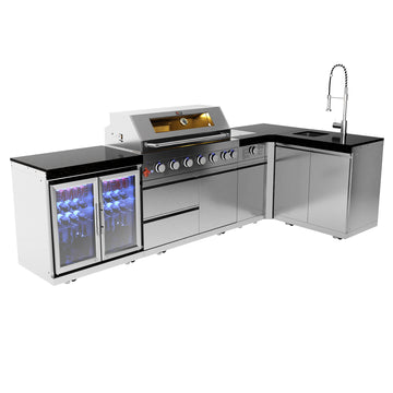 Draco Grills Z640 6 Burner Barbecue with 90 Degree Sear Station, Double Fridge and Sink