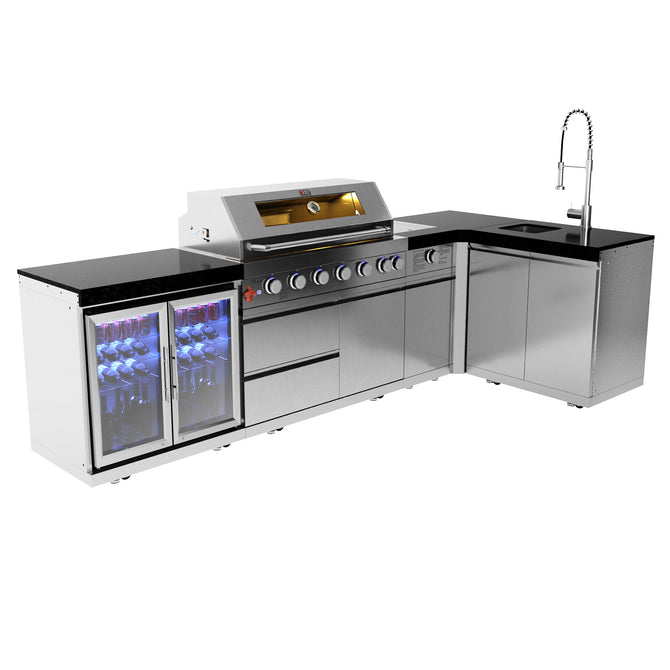 Draco Grills 6 Burner Stainless Steel Outdoor Kitchen with Sear Station, Double Fridge and Sink