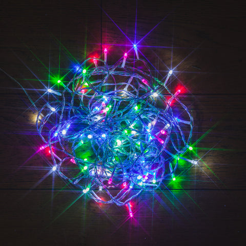 96 Static LED Christmas Lights With Easy Timer Multi Pastel Colours with Clear Cable