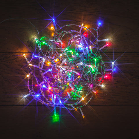 96 Static LED Christmas Lights With Easy Timer Multicoloured with Clear Cable