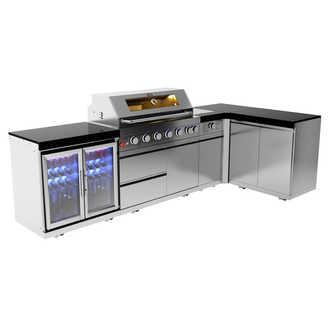Draco Grills 6 Burner Stainless Steel Outdoor Kitchen with Sear Station, Double Cupboard and Double Fridge