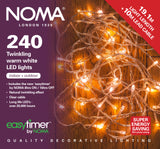 80 ,120, 180, 240, 360, 480 Random Twinkling LED Lights with Clear Cable and Timer - Warm White