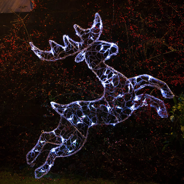 Noma 1m Battery Operated 50 LED White Twinkling Spun Acrylic Reindeer Frame With Timer