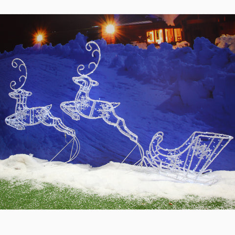 Noma 100cm White Acrylic Double Flying Reindeer with Sleigh - 300 LED with Timer