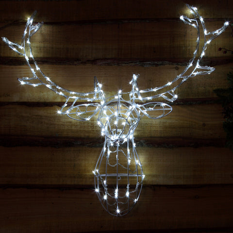 Noma 85CM 80 LED White Stag Head Frame with Clear Cable.