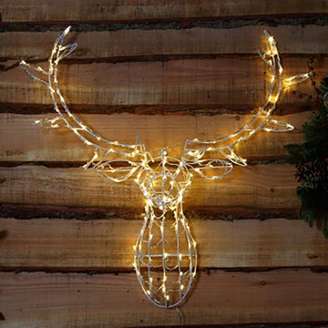 Noma 85CM 80 LED Antique White Stag Head Frame with Clear Cable.
