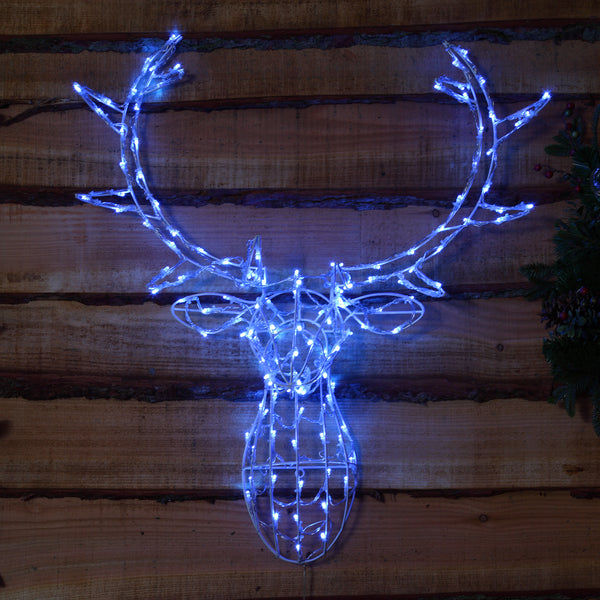 Noma 85CM 80 LED Ice Blue Stag Head Frame with Clear Cable.