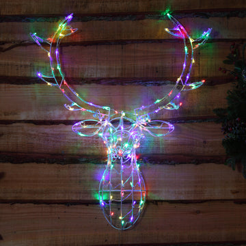 Noma 85CM 80 LED Multi Coloured Stag Head Frame with Clear Cable.