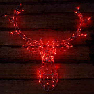 Noma 85CM 80 LED Red Stag Head Frame with Clear Cable.