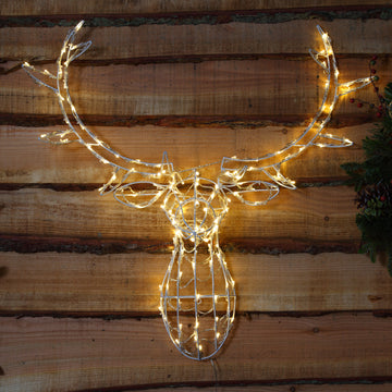 Noma 85CM 80 LED Warm White Stag Head Frame with Clear Cable.