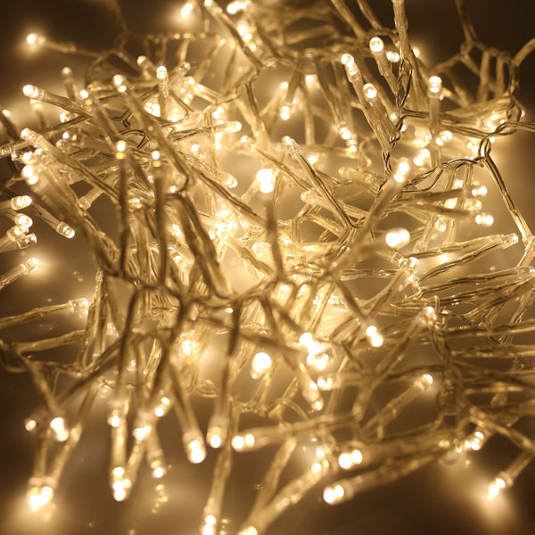 280, 360, 480, 720, 2000 Multifunction LED Christmas Cluster Lights with Timer and Clear Cable - Warm White
