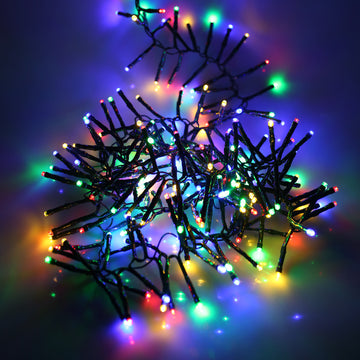 280, 360, 720, 960, 2000 Multifunction LED Christmas Cluster Lights with Timer and Green Cable - Multi Coloured