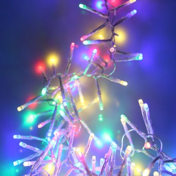 Noma 360, 480 Multifunction LED Christmas Cluster Lights with Timer and Clear Cable - Multi Coloured