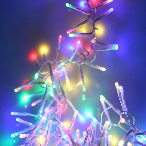 360, 480 Multifunction LED Christmas Cluster Lights with Timer and Clear Cable - Multi Coloured