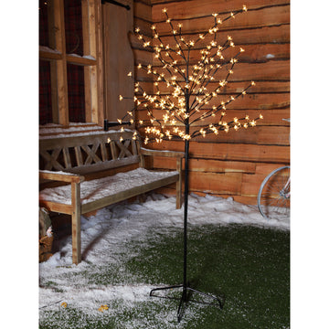 1.8m 200 LED Cherry Blossom Tree  with Black Cable - Warm White