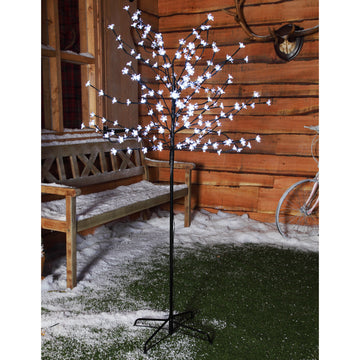 1.8m 200 LED Cherry Blossom Tree  with Black Cable - White