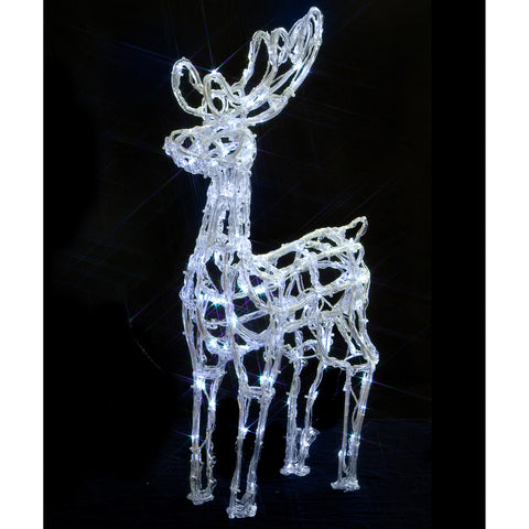 Noma 72cm 120 LED White Acrylic Standing Deer with Clear Cable and Timer