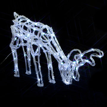 Noma 40cm 120 LED 'Fit and Forget' White Acrylic Grazing Deer with Clear Cable and Timer
