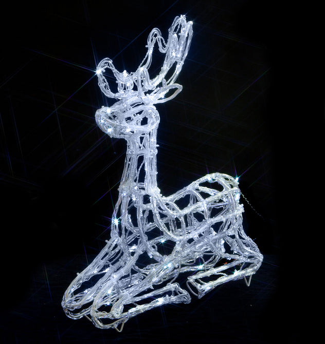 Noma 55cm 120 LED 'Fit and Forget' White Acrylic Sitting Deer with Clear Cable and Timer