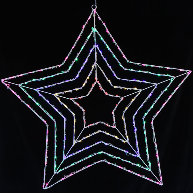 Noma 1.05M 200 LED Multi Coloured Star Silhouette with Clear Cable