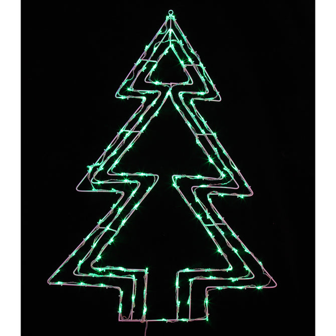 Noma 93cm 130 LED Green Xmas Tree Silhouette with Clear Cable