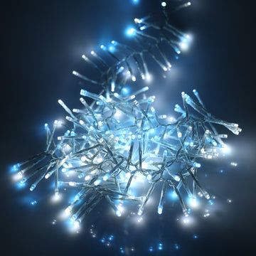 12e8b6dcc66c 480 Multifunction LED Christmas Cluster Lights with Timer and Clear Cable -  Ice Blue/White