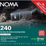 Noma 144, 240, 360, 480, 720, 960 LED Snowing Icicles Lights with White Cable, Timer and Speed Setting- White/Ice Blue