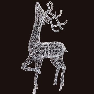 Noma Christmas White Wicker Standing Deer 2m