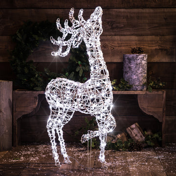 Noma Christmas White Wicker Standing Deer 1m