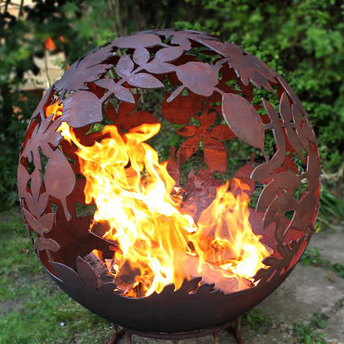 Garden Fire Ball 70cm Leaf Design with Rust Finish