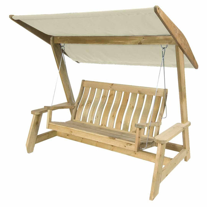 Alexander Rose Pine Farmers Swing Seat Replacement canopy - Ecru