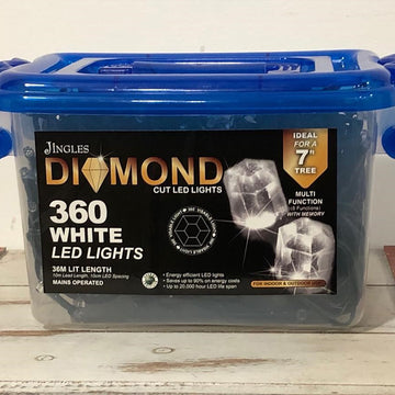 360 Multi Function LED Bright White Diamond Christmas Lights by Jingles