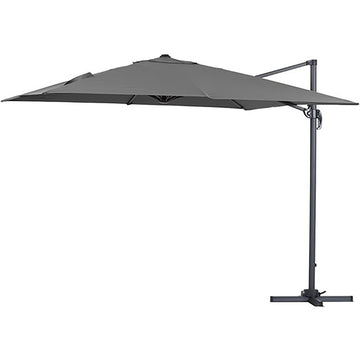 Bracken Outdoors Grey Napoli Deluxe 3m x 3m Square Cantilever Garden Parasol With LED Lights