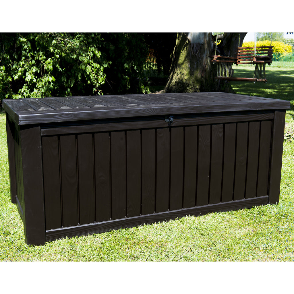 Keter Rockwood Jumbo Garden Storage Box 570ltr Brown