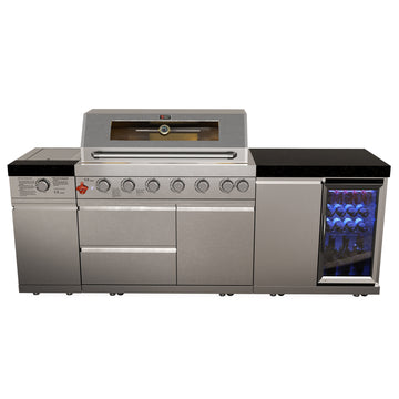 Draco Grills Z640 6 Burner Barbecue with Sear Station and Single Fridge unit