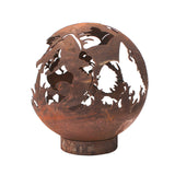 Garden Fire Ball 50cm Dragon Design with Rust Finish