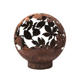 Garden Fire Ball 50cm Leaf Design with Rust Finish