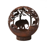 Garden Fire Ball 50cm Safari Design with Rust Finish