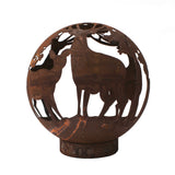 Garden Fire Ball 50cm Stag Design with Rust Finish