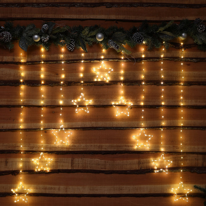 Noma Warm White Micro LED Star Curtain with Silver Wire