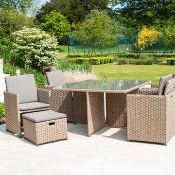 Bracken Outdoors Dakota Grand 4-8 Seater Rattan Garden Cube Set -Brown