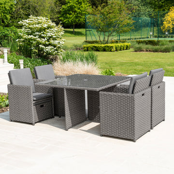 Bracken Outdoors Dakota Grand 4-8 Seater Rattan Garden Cube Set -Grey