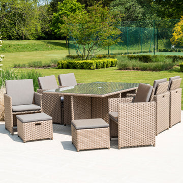 Bracken Outdoors Dakota Grand 6 - 10 Seater Garden Rattan Cube Set - Brown