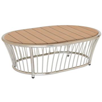 Alexander Rose Cordial Stainless Steel Oval Coffee Table with Roble Top