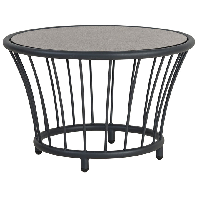 Alexander Rose Cordial Grey Round Coffee Table with Pebble Laminate Top