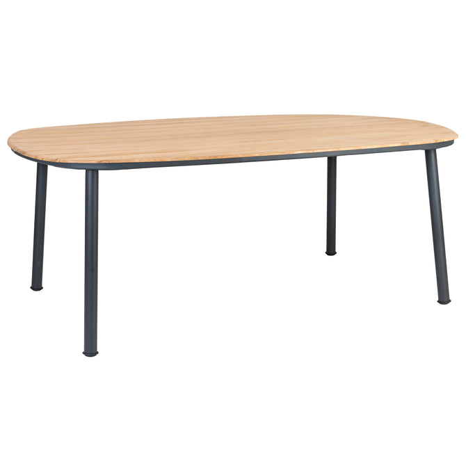 Alexander Rose Cordial Grey Shaped Dining Table with Roble Top - 2m x  1.2m