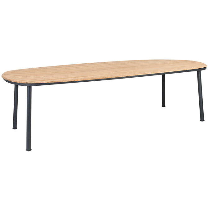 Alexander Rose Cordial Grey Shaped Dining Table with Roble Top - 2.6m x  1.2m